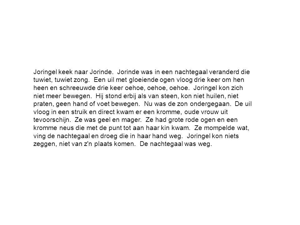 Joringel keek naar Jorinde. Jorinde was in een nachtegaal veranderd die tuwiet, tuwiet zong.