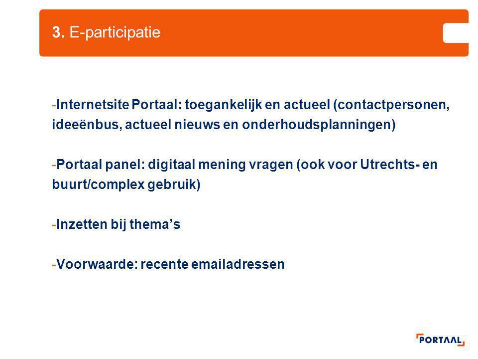 3. E-participatie -Internetsite Portaal: toegankelijk en actueel (contactpersonen, ideeënbus, actueel nieuws en onderhoudsplanningen) -Portaal panel:
