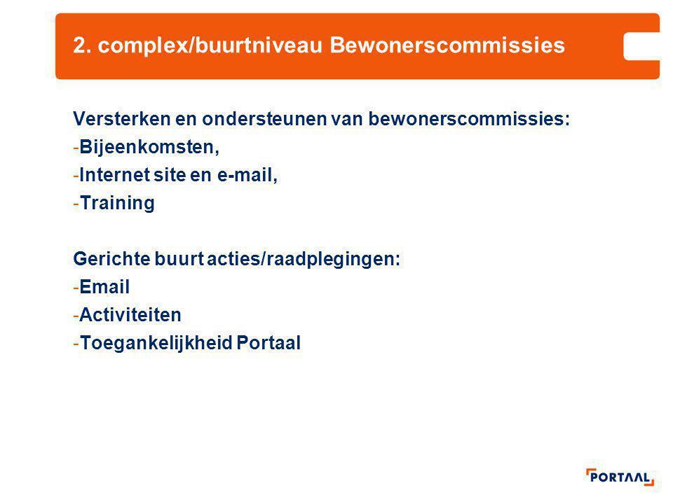 2. complex/buurtniveau Bewonerscommissies Versterken en ondersteunen van bewonerscommissies: -Bijeenkomsten, -Internet site en e-mail, -Training Geric