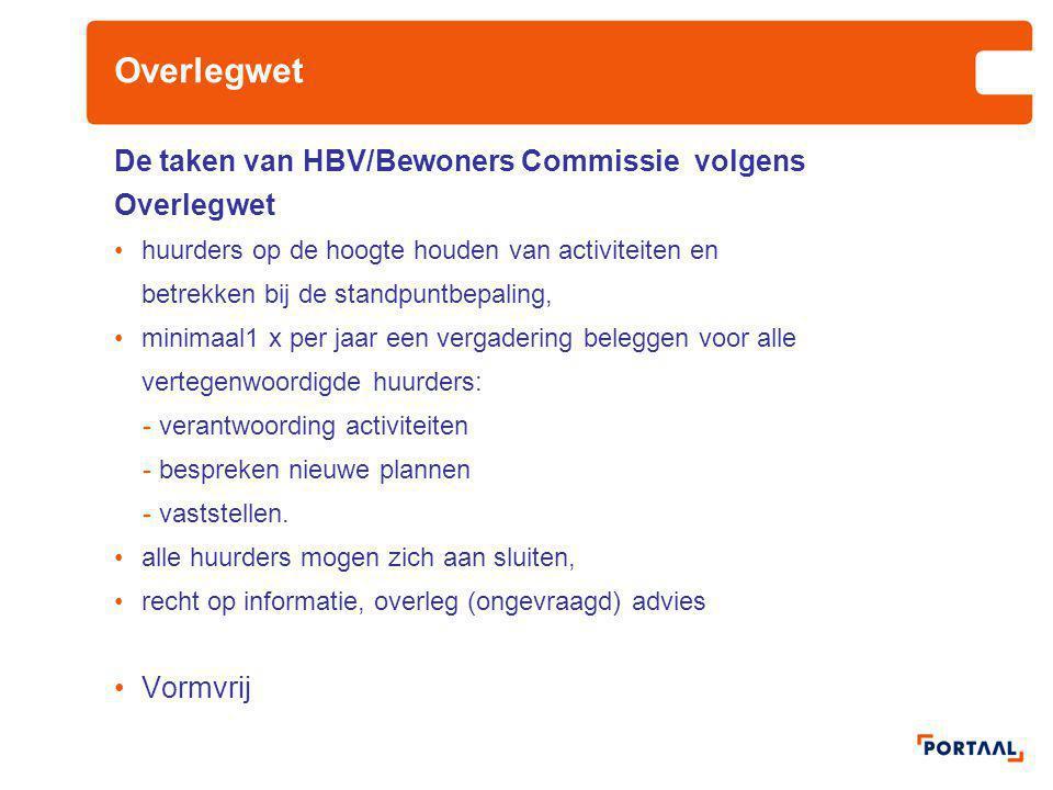 Overlegwet De taken van HBV/Bewoners Commissie volgens Overlegwet huurders op de hoogte houden van activiteiten en betrekken bij de standpuntbepaling,