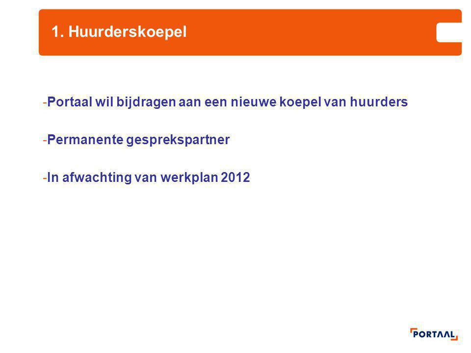 1. Huurderskoepel -Portaal wil bijdragen aan een nieuwe koepel van huurders -Permanente gesprekspartner -In afwachting van werkplan 2012