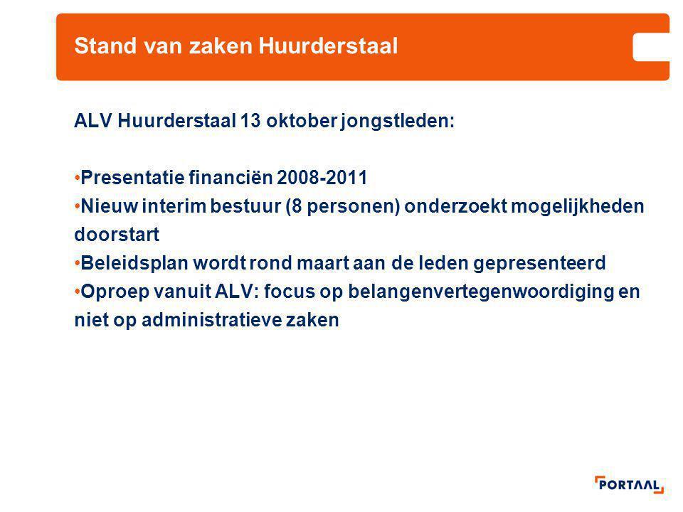 Stand van zaken Huurderstaal ALV Huurderstaal 13 oktober jongstleden: Presentatie financiën 2008-2011 Nieuw interim bestuur (8 personen) onderzoekt mo
