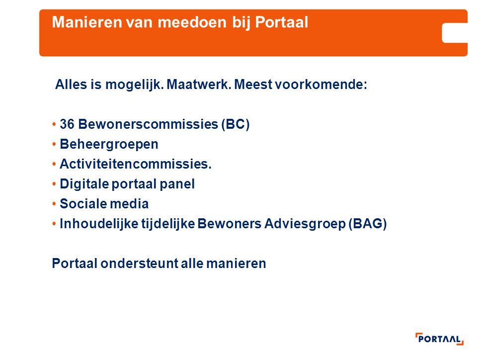 Manieren van meedoen bij Portaal Alles is mogelijk. Maatwerk. Meest voorkomende: 36 Bewonerscommissies (BC) Beheergroepen Activiteitencommissies. Digi