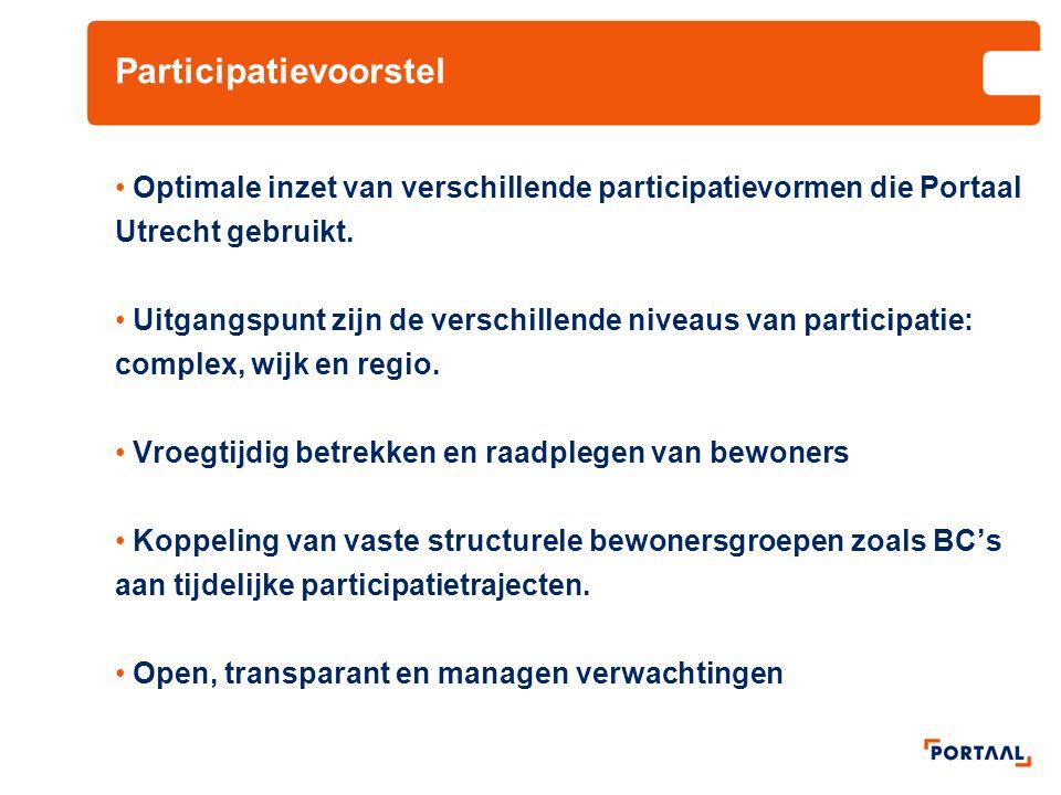 Participatievoorstel Optimale inzet van verschillende participatievormen die Portaal Utrecht gebruikt. Uitgangspunt zijn de verschillende niveaus van