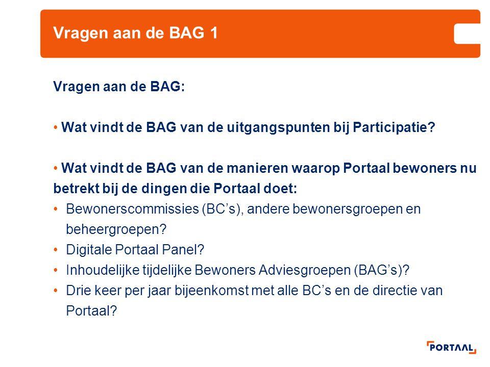 Vragen aan de BAG 1 Vragen aan de BAG: Wat vindt de BAG van de uitgangspunten bij Participatie? Wat vindt de BAG van de manieren waarop Portaal bewone