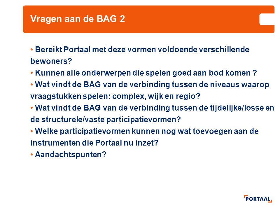 Vragen aan de BAG 2 Bereikt Portaal met deze vormen voldoende verschillende bewoners? Kunnen alle onderwerpen die spelen goed aan bod komen ? Wat vind