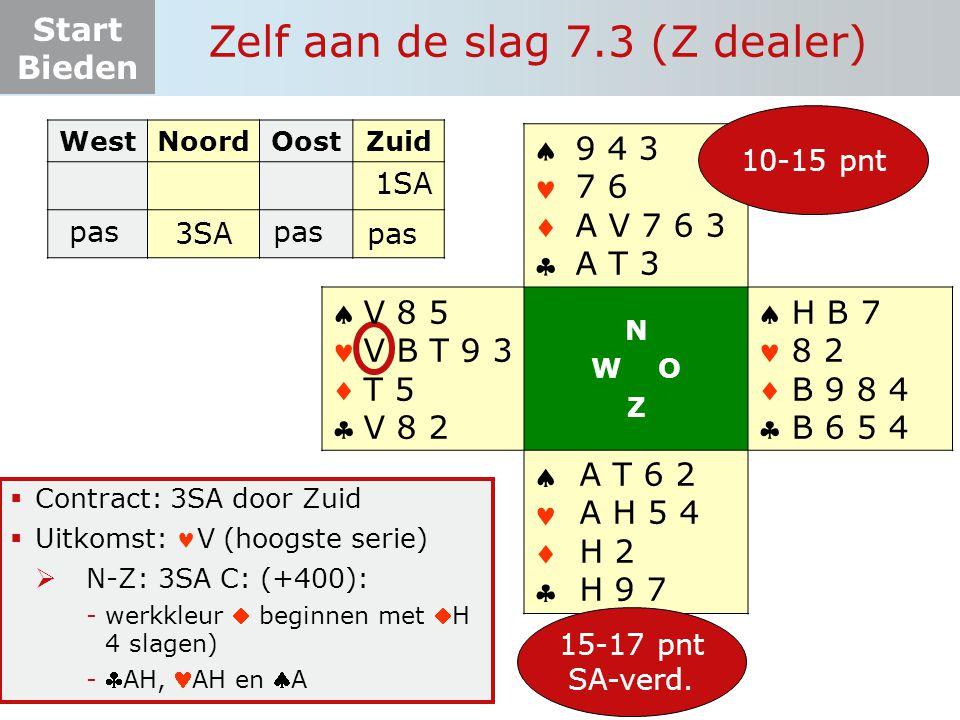 Start Bieden Zelf aan de slag 7.3 (Z dealer)  Contract: 3SA door Zuid  Uitkomst: V (hoogste serie)  N-Z: 3SA C: (+400): -werkkleur  beginnen met H 4 slagen) -AH, AH en A WestNoordOostZuid pas       N W O Z       15-17 pnt SA-verd.