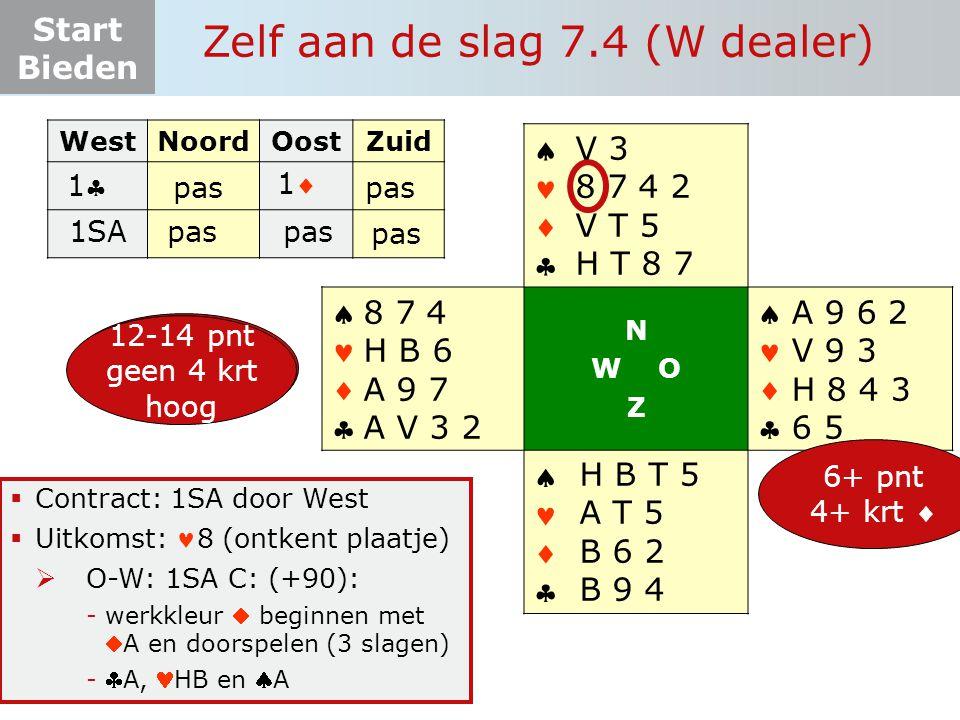 Start Bieden Zelf aan de slag 7.4 (W dealer)  Contract: 1SA door West  Uitkomst: 8 (ontkent plaatje)  O-W: 1SA C: (+90): -werkkleur  beginnen met A en doorspelen (3 slagen) -A, HB en A WestNoordOostZuid 11       N W O Z       12-19 pnt 4+ krt  A 9 6 2 V 9 3 H 8 4 3 6 5 H B T 5 A T 5 B 6 2 B 9 4 8 7 4 H B 6 A 9 7 A V 3 2 6+ pnt 4+ krt  V 3 8 7 4 2 V T 5 H T 8 7 11 pas 1SApas 12-14 pnt geen 4 krt hoog