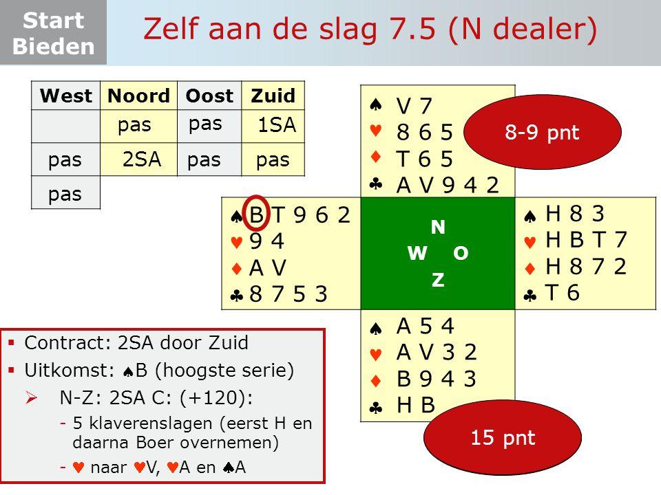 Start Bieden Zelf aan de slag 7.5 (N dealer)  Contract: 2SA door Zuid  Uitkomst: B (hoogste serie)  N-Z: 2SA C: (+120): -5 klaverenslagen (eerst H en daarna Boer overnemen) - naar V, A en A WestNoordOostZuid pas       N W O Z       15-17 pnt SA-verd.
