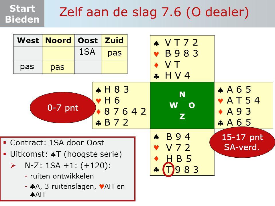 Start Bieden Zelf aan de slag 7.6 (O dealer)  Contract: 1SA door Oost  Uitkomst: T (hoogste serie)  N-Z: 1SA +1: (+120): -ruiten ontwikkelen -A, 3 ruitenslagen, AH en AH WestNoordOostZuid 1SA pas       N W O Z       15-17 pnt SA-verd.