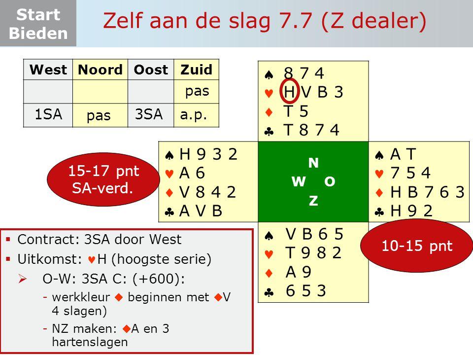 Start Bieden Zelf aan de slag 7.7 (Z dealer)  Contract: 3SA door West  Uitkomst: H (hoogste serie)  O-W: 3SA C: (+600): -werkkleur  beginnen met V 4 slagen) -NZ maken: A en 3 hartenslagen WestNoordOostZuid 1SA       N W O Z       15-17 pnt SA-verd.