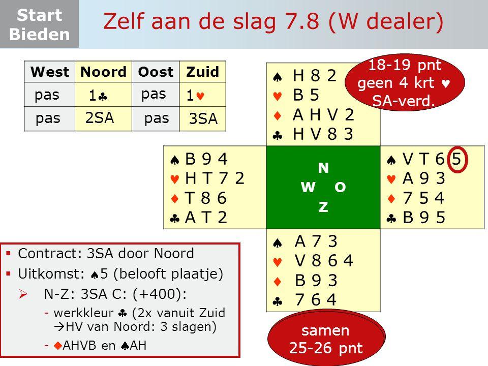 Start Bieden Zelf aan de slag 7.8 (W dealer)  Contract: 3SA door Noord  Uitkomst: 5 (belooft plaatje)  N-Z: 3SA C: (+400): -werkkleur  (2x vanuit Zuid  HV van Noord: 3 slagen) -AHVB en AH WestNoordOostZuid pas       N W O Z       12-19 pnt 4+ krt  V T 6 5 A 9 3 7 5 4 B 9 5 A 7 3 V 8 6 4 B 9 3 7 6 4 B 9 4 H T 7 2 T 8 6 A T 2 6+ pnt 4+ krt H 8 2 B 5 A H V 2 H V 8 3 pas 111 2SApas 3SA 18-19 pnt geen 4 krt SA-verd.
