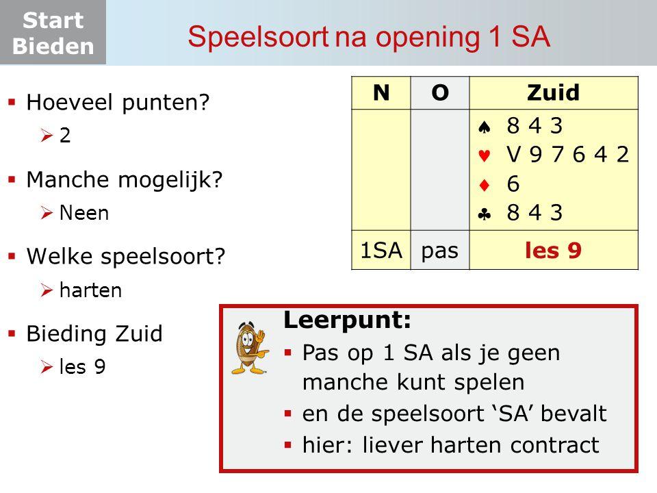 Start Bieden Speelsoort na opening 1 SA Leerpunt:  Pas op 1 SA als je geen manche kunt spelen  en de speelsoort 'SA' bevalt  hier: liever harten contract NOZuid    1SApas.