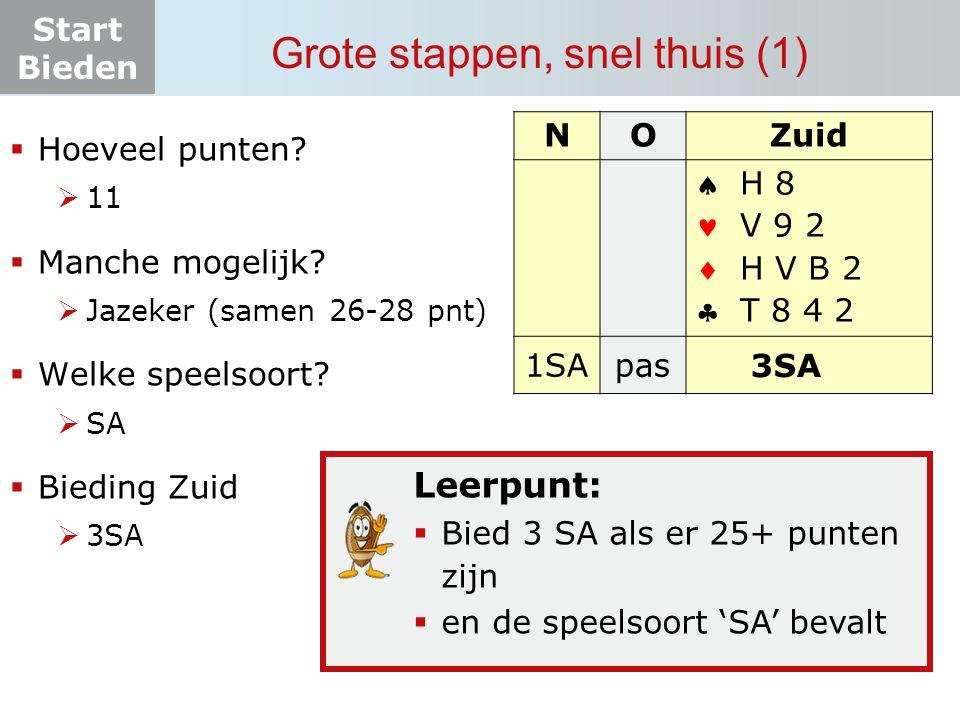 Start Bieden Grote stappen, snel thuis (1) Leerpunt:  Bied 3 SA als er 25+ punten zijn  en de speelsoort 'SA' bevalt NOZuid    1SApas.