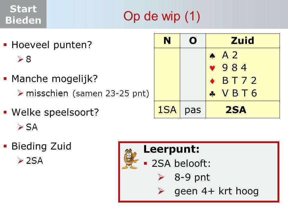Start Bieden Op de wip (1) Leerpunt:  2SA belooft:  8-9 pnt  geen 4+ krt hoog NOZuid    1SApas.
