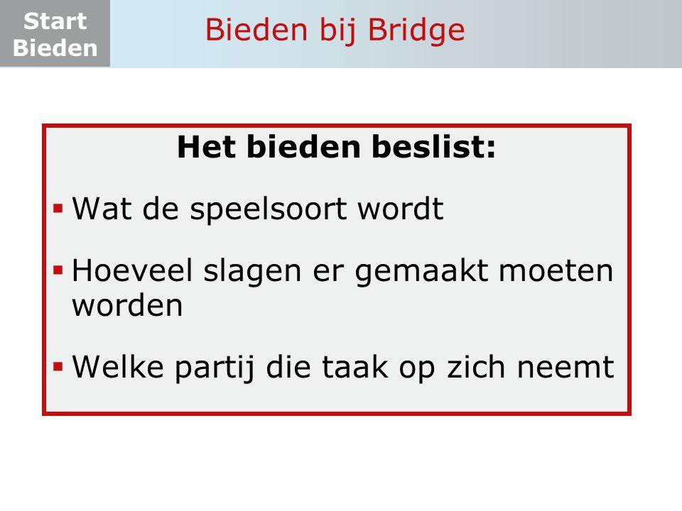 Start Bieden Bieden bij Bridge Het bieden beslist:  Wat de speelsoort wordt  Hoeveel slagen er gemaakt moeten worden  Welke partij die taak op zich