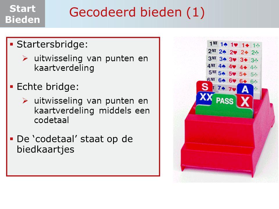 Start Bieden Gecodeerd bieden (1)  Startersbridge:  uitwisseling van punten en kaartverdeling  Echte bridge:  uitwisseling van punten en kaartverd