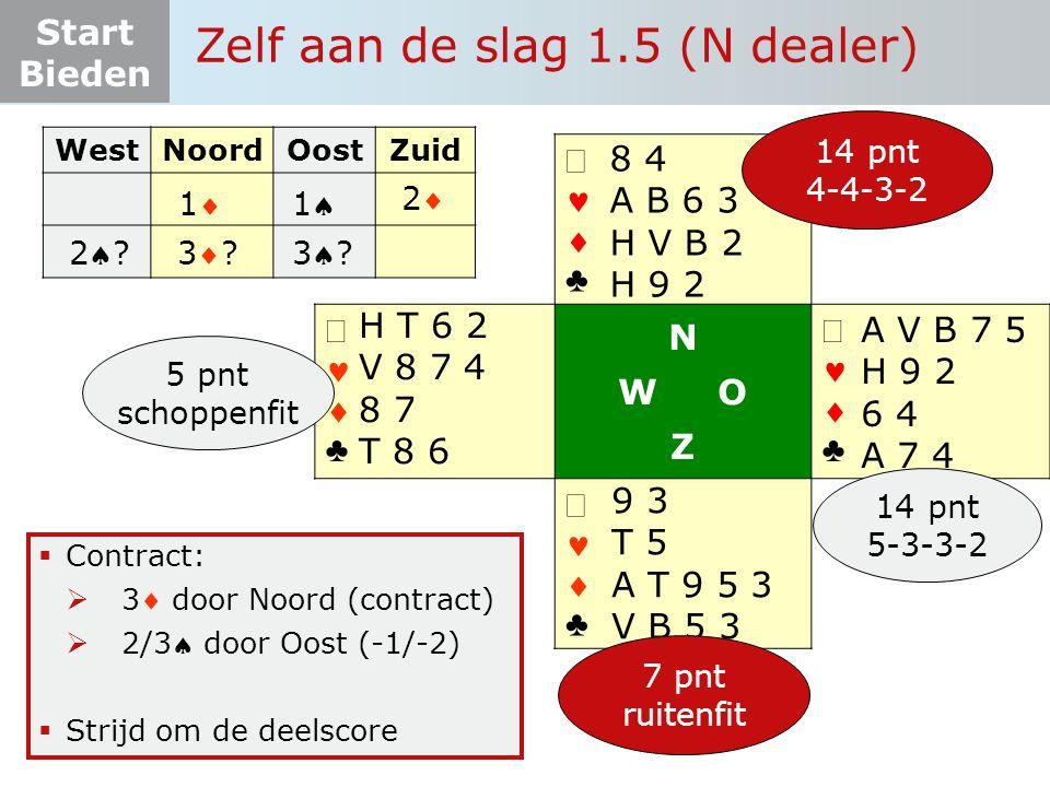 Start Bieden Zelf aan de slag 1.5 (N dealer)   ♣   ♣ N W O Z   ♣   ♣  Contract:  3 door Noord (contract)  2/3 door Oost (-1/-2)  Strijd