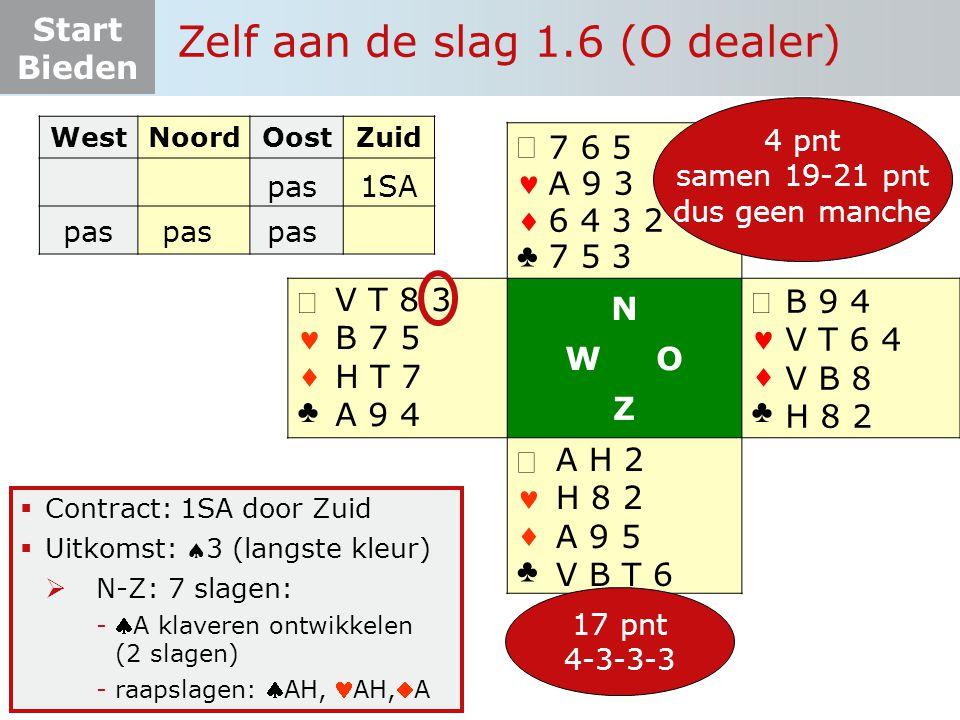 Start Bieden   ♣   ♣ N W O Z   ♣   ♣  Contract: 1SA door Zuid  Uitkomst: 3 (langste kleur)  N-Z: 7 slagen: -A klaveren ontwikkelen (2 sla