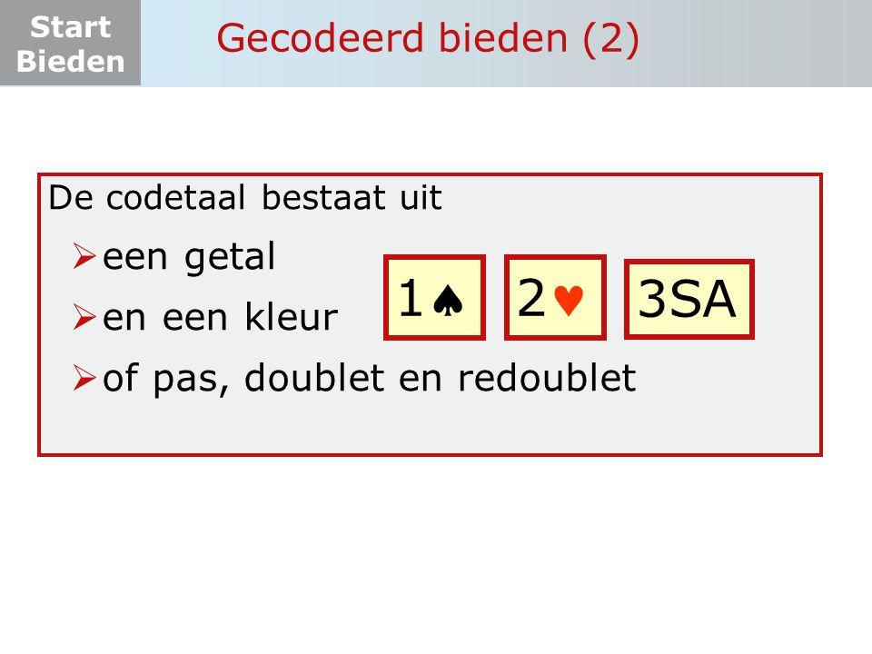 Start Bieden De rangorde der kleuren  Klaveren is de laagste speelsoort en SA de hoogste  De volgorde van laag naar hoog is: Gecodeerd bieden (3) 11 11 1 11 22 22 2 22 2 SA 1 SA t/m 7 SA 6 basisslagen