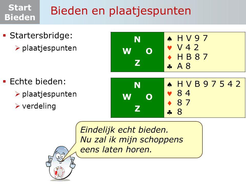 Start Bieden De biedtaal (samenvattend)  Je kunt kiezen tussen: een bod of passen  Het laagste bod is: 1 klaveren  Als klaveren troef is, denk ik (met mijn partner) 7 slagen te halen: (het bod: '1' + 6 basisslagen).