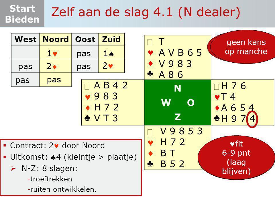 Start Bieden Zelf aan de slag 4.1 (N dealer)   ♣   ♣ N W O Z   ♣   ♣  Contract: 2 door Noord  Uitkomst: 4 (kleintje > plaatje)  N-Z: 8 sla