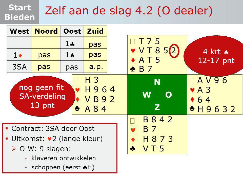 Start Bieden   ♣   ♣ N W O Z   ♣   ♣  Contract: 3SA door Oost  Uitkomst: 2 (lange kleur)  O-W: 9 slagen: -klaveren ontwikkelen -schoppen (e