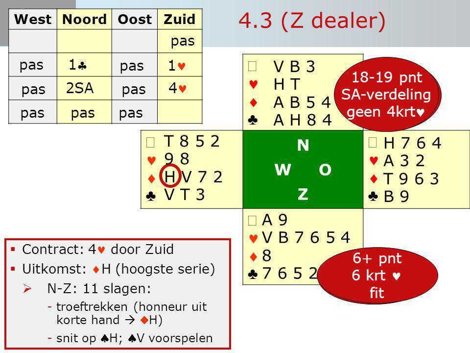 Start Bieden   ♣   ♣ N W O Z   ♣   ♣  Contract: 4 door Zuid  Uitkomst: H (hoogste serie)  N-Z: 11 slagen: -troeftrekken (honneur uit korte