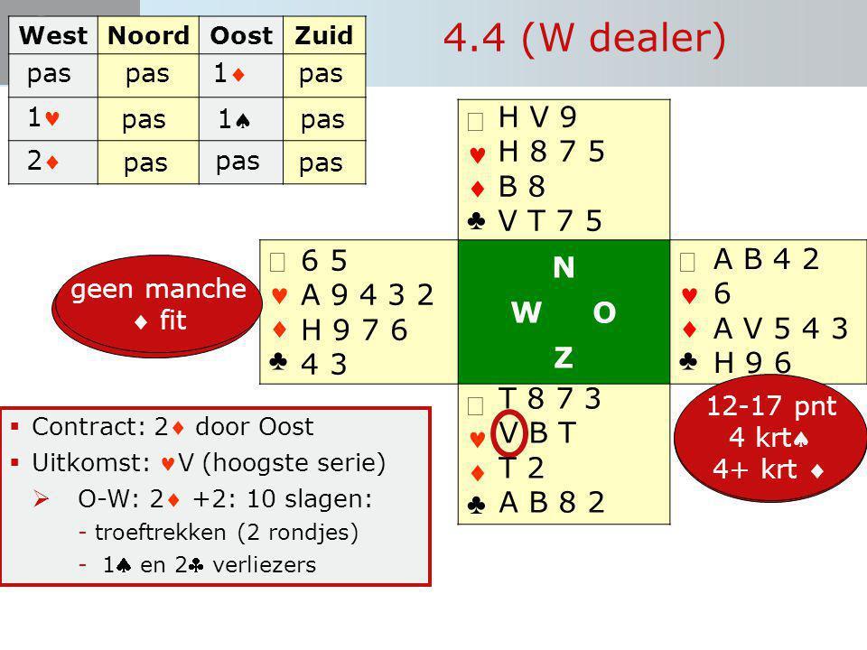 Start Bieden   ♣   ♣ N W O Z   ♣   ♣  Contract: 2 door Oost  Uitkomst: V (hoogste serie)  O-W: 2 +2: 10 slagen: -troeftrekken (2 rondjes)