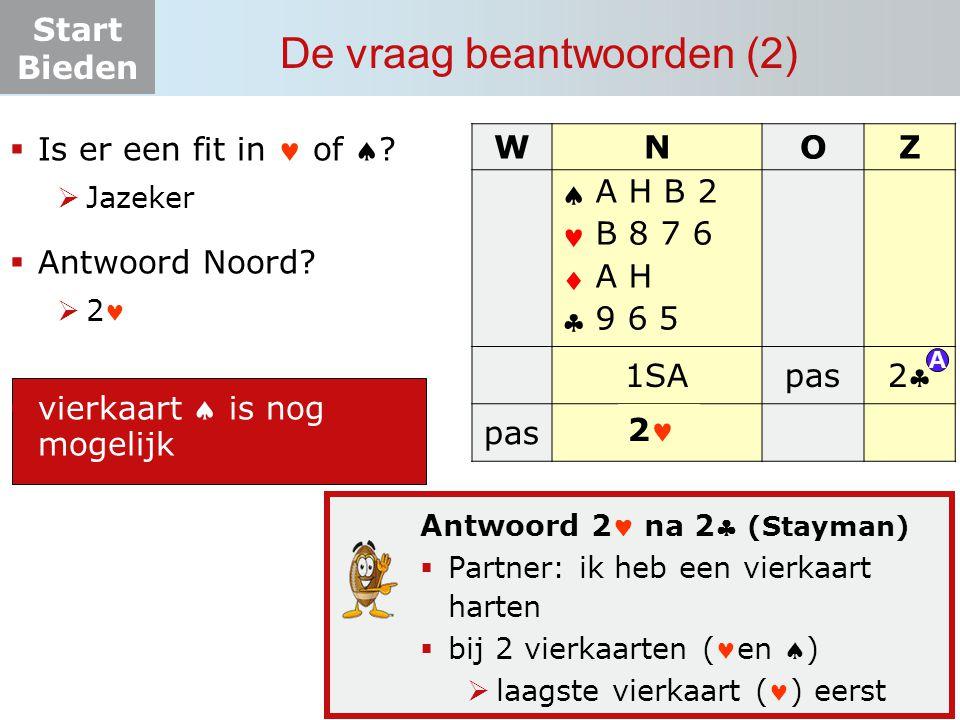 Start Bieden De vraag beantwoorden (2) Antwoord 2 na 2 (Stayman)  Partner: ik heb een vierkaart harten  bij 2 vierkaarten (en )  laagste vierkaar