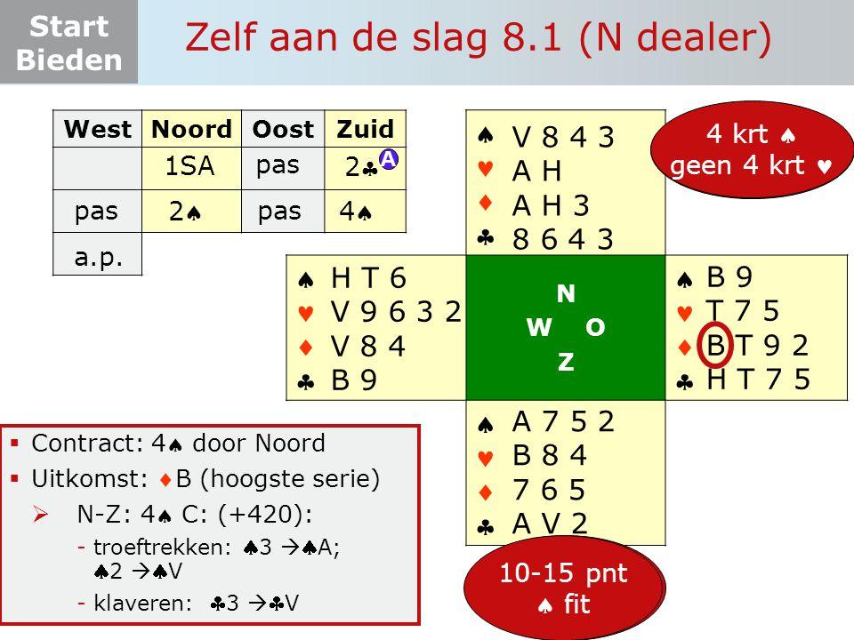 Start Bieden Zelf aan de slag 8.1 (N dealer)  Contract: 4 door Noord  Uitkomst: B (hoogste serie)  N-Z: 4 C: (+420): -troeftrekken: 3  A; 2