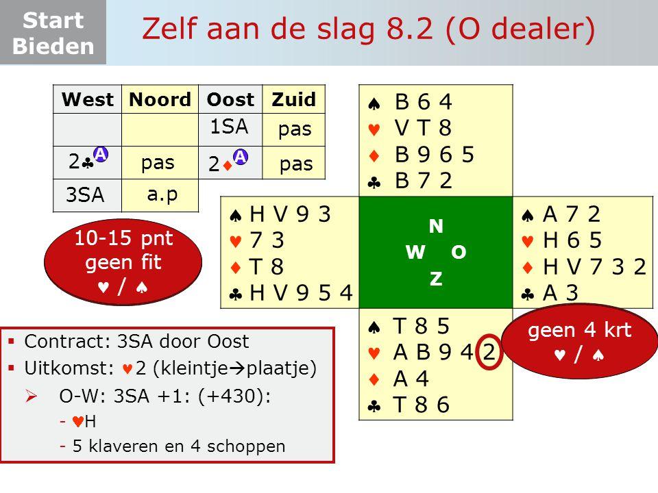 Start Bieden Zelf aan de slag 8.2 (O dealer)  Contract: 3SA door Oost  Uitkomst: 2 (kleintje  plaatje)  O-W: 3SA +1: (+430): -H -5 klaveren en 4 s