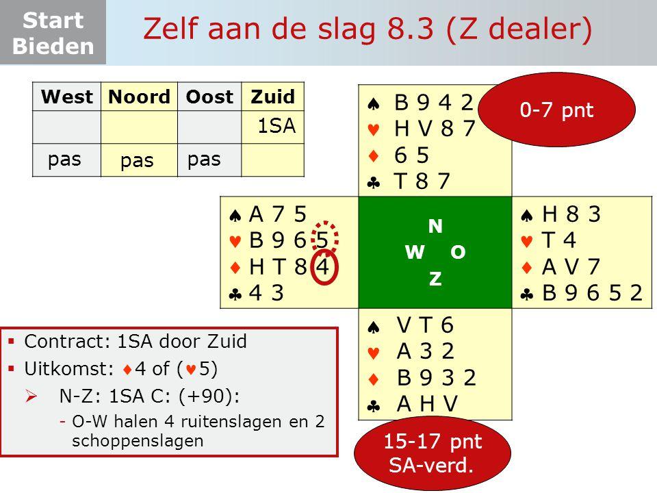 Start Bieden Zelf aan de slag 8.3 (Z dealer)  Contract: 1SA door Zuid  Uitkomst: 4 of (5)  N-Z: 1SA C: (+90): -O-W halen 4 ruitenslagen en 2 schop