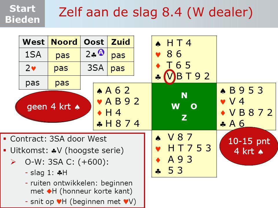 Start Bieden Zelf aan de slag 8.4 (W dealer)  Contract: 3SA door West  Uitkomst: V (hoogste serie)  O-W: 3SA C: (+600): -slag 1: H -ruiten ontwik