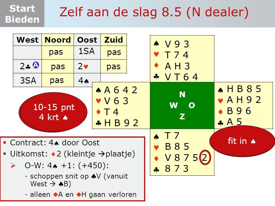 Start Bieden Zelf aan de slag 8.5 (N dealer)  Contract: 4 door Oost  Uitkomst: 2 (kleintje  plaatje)  O-W: 4 +1: (+450): -schoppen snit op V (