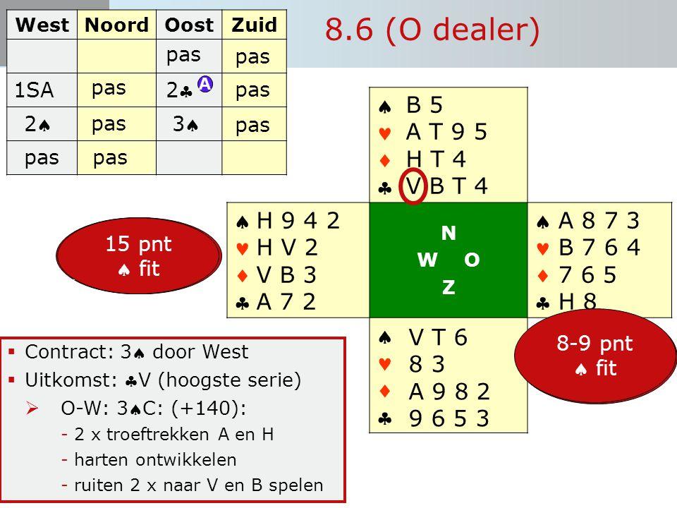 Start Bieden 8.6 (O dealer)  Contract: 3 door West  Uitkomst: V (hoogste serie)  O-W: 3C: (+140): -2 x troeftrekken A en H -harten ontwikkelen -