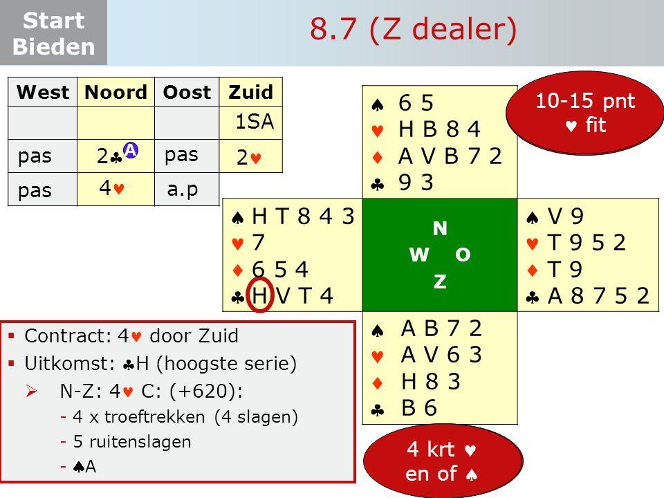 Start Bieden 8.7 (Z dealer)  Contract: 4 door Zuid  Uitkomst: H (hoogste serie)  N-Z: 4 C: (+620): -4 x troeftrekken (4 slagen) -5 ruitenslagen -