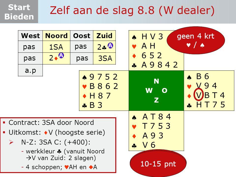 Start Bieden Zelf aan de slag 8.8 (W dealer)  Contract: 3SA door Noord  Uitkomst: V (hoogste serie)  N-Z: 3SA C: (+400): -werkkleur  (vanuit Noor