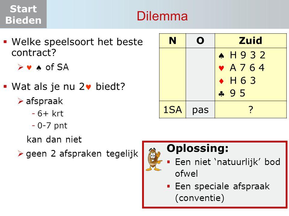 Start Bieden vervolg vraaggesprek (1) Herbieding 2-bieder na 2  2SA: 8-9 pnt  3SA: 10-15 pnt  Wat belooft Noord.