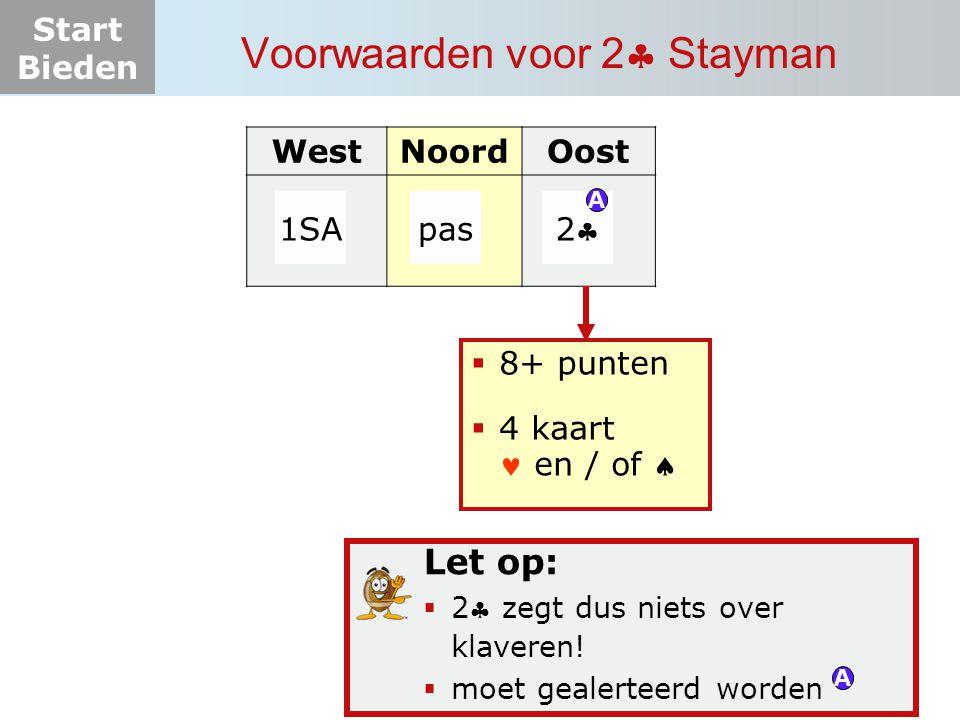 Start Bieden Voorwaarden voor 2  Stayman WestNoordOost 1SApas 22  8+ punten  4 kaart en / of  A Let op:  2 zegt dus niets over klaveren!  moe