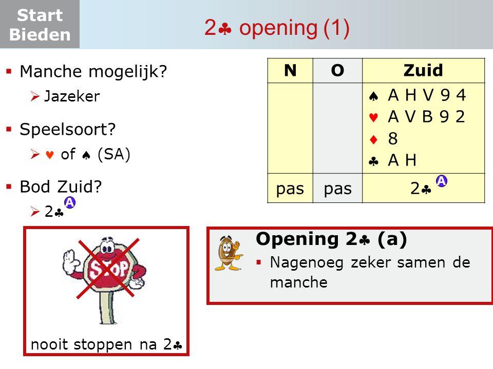 Start Bieden 2  opening (1) NOZuid    pas ? A H V 9 4 A V B 9 2 8 A H  Manche mogelijk?  Jazeker  Speelsoort?  of  (SA)  Bod Zuid? 22 2