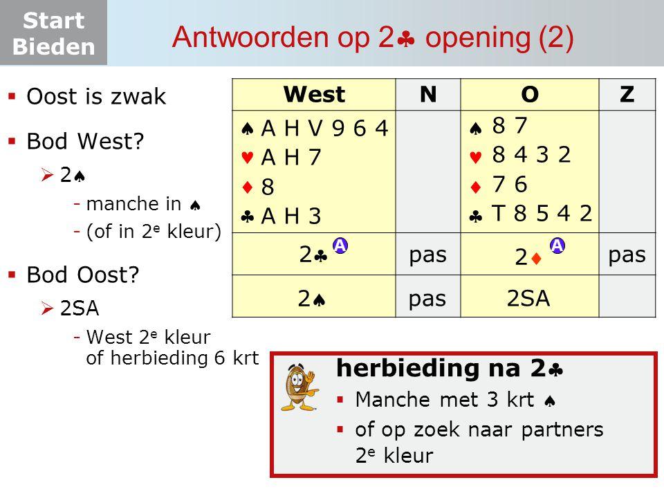 Start Bieden Antwoorden op 2  opening (2)  Oost is zwak  Bod West? 22 -manche in  -(of in 2 e kleur)  Bod Oost?  2SA -West 2 e kleur of herb