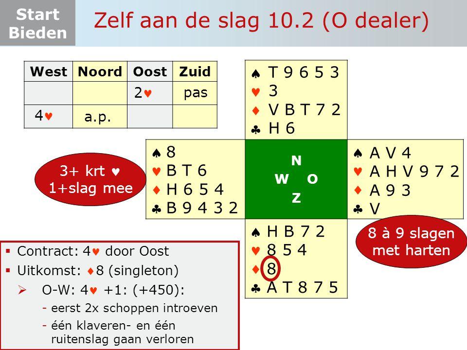 Start Bieden Zelf aan de slag 10.2 (O dealer)  Contract: 4 door Oost  Uitkomst: 8 (singleton)  O-W: 4 +1: (+450): -eerst 2x schoppen introeven -éé