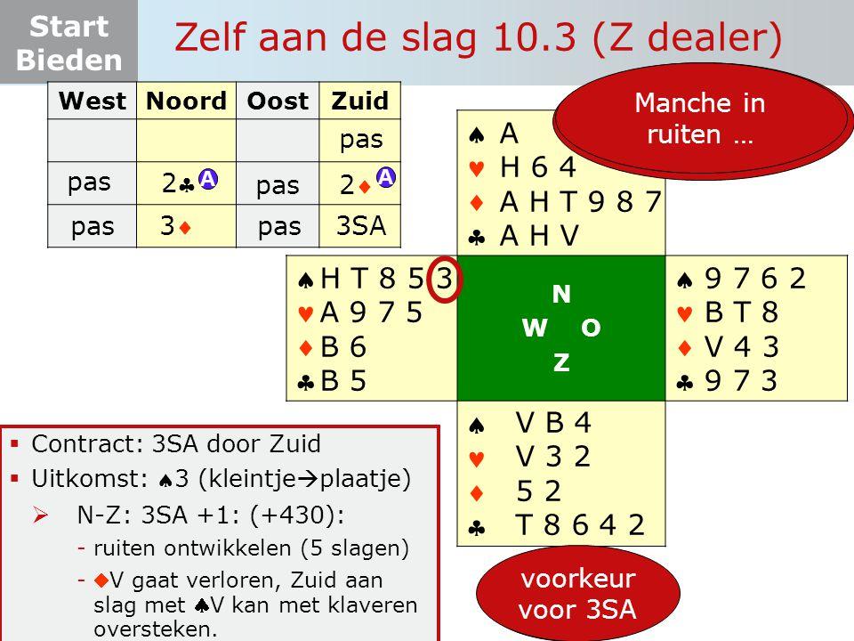 Start Bieden Zelf aan de slag 10.3 (Z dealer)  Contract: 3SA door Zuid  Uitkomst: 3 (kleintje  plaatje)  N-Z: 3SA +1: (+430): -ruiten ontwikkelen