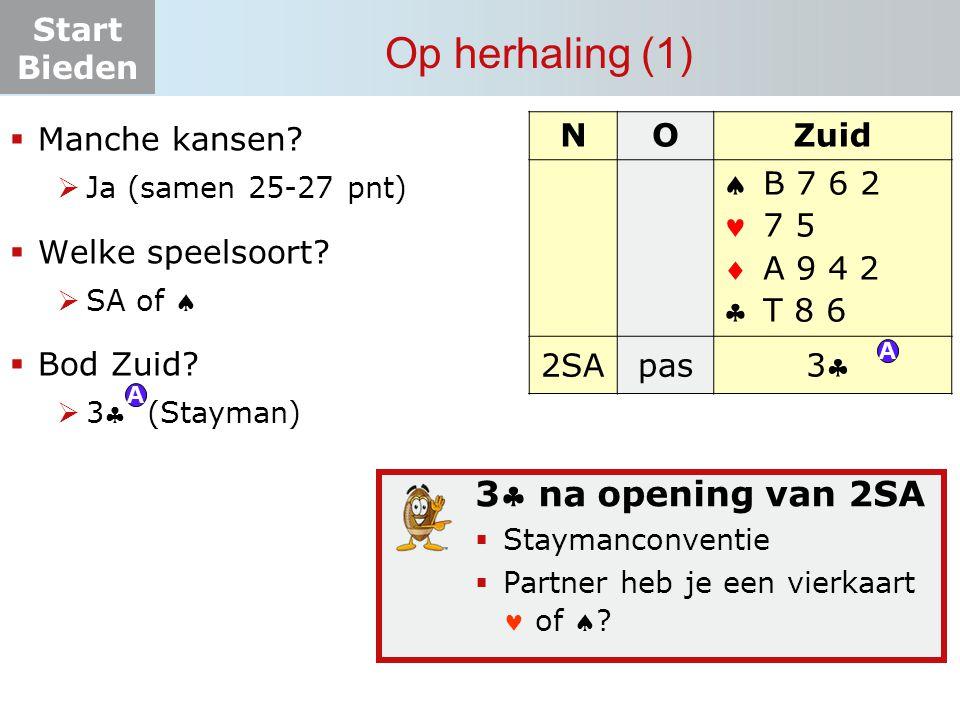 Start Bieden 2  opening (2) NOZuid    pas .H 9 2 A V B 7 A V 2 A H 3  Hoeveel punten.