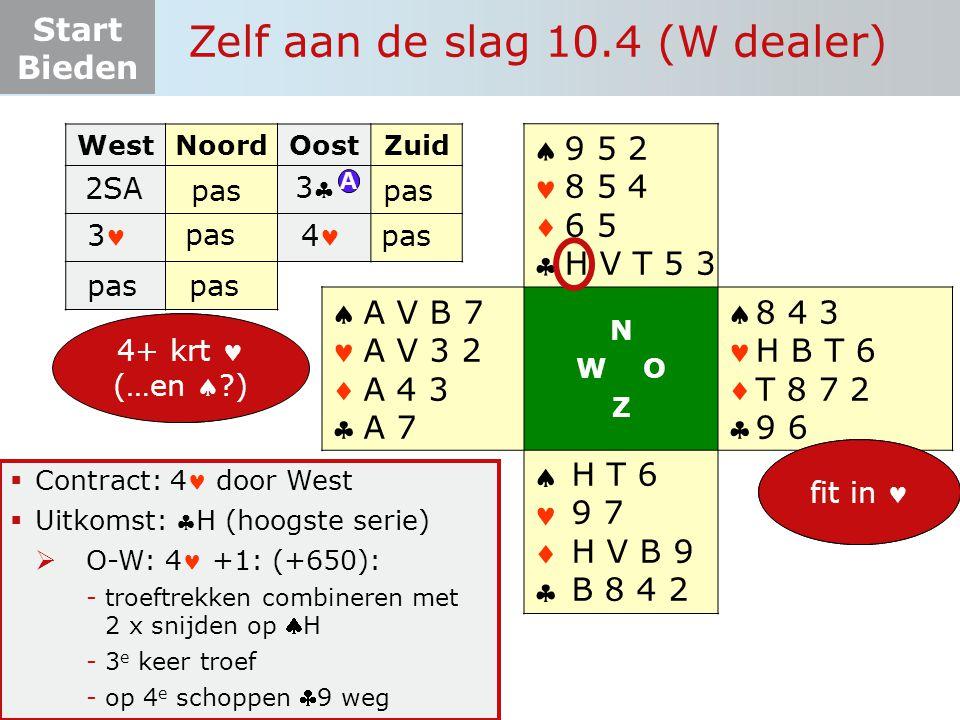 Start Bieden Zelf aan de slag 10.4 (W dealer)  Contract: 4 door West  Uitkomst: H (hoogste serie)  O-W: 4 +1: (+650): -troeftrekken combineren met