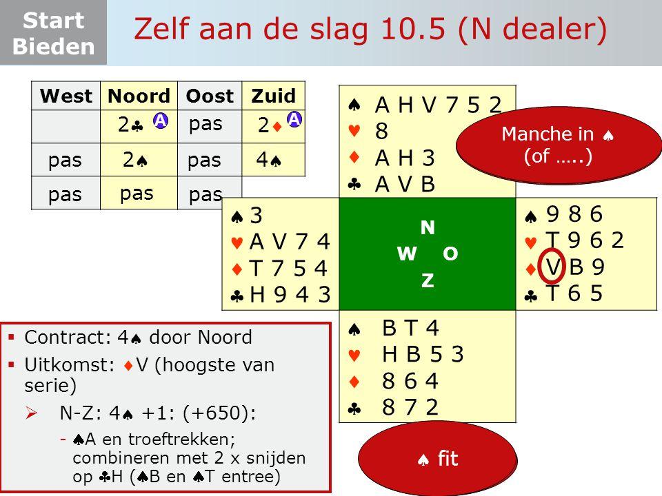 Start Bieden Zelf aan de slag 10.5 (N dealer)  Contract: 4 door Noord  Uitkomst: V (hoogste van serie)  N-Z: 4 +1: (+650): -A en troeftrekken;
