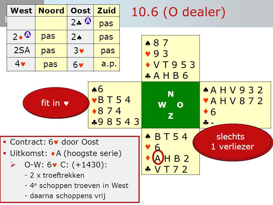 Start Bieden 10.6 (O dealer)  Contract: 6 door Oost  Uitkomst: A (hoogste serie)  O-W: 6 C: (+1430): -2 x troeftrekken -4 e schoppen troeven in We