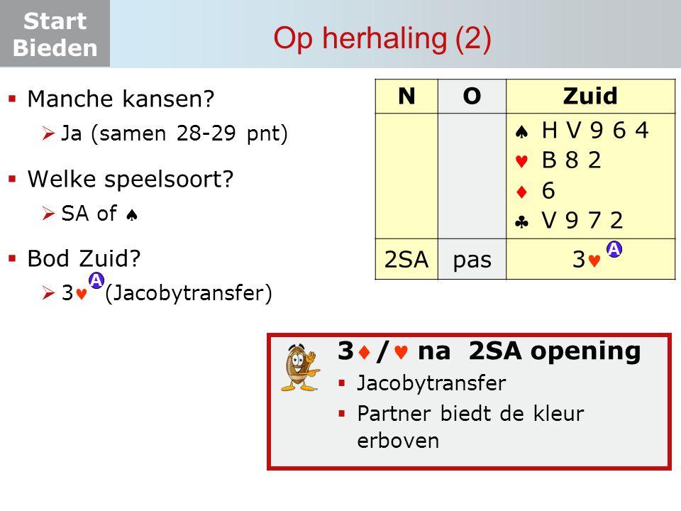 Start Bieden Op herhaling (2) NOZuid    2SApas? H V 9 6 4 B 8 2 6 V 9 7 2 3 A A 3/ na 2SA opening  Jacobytransfer  Partner biedt de kleur erbove
