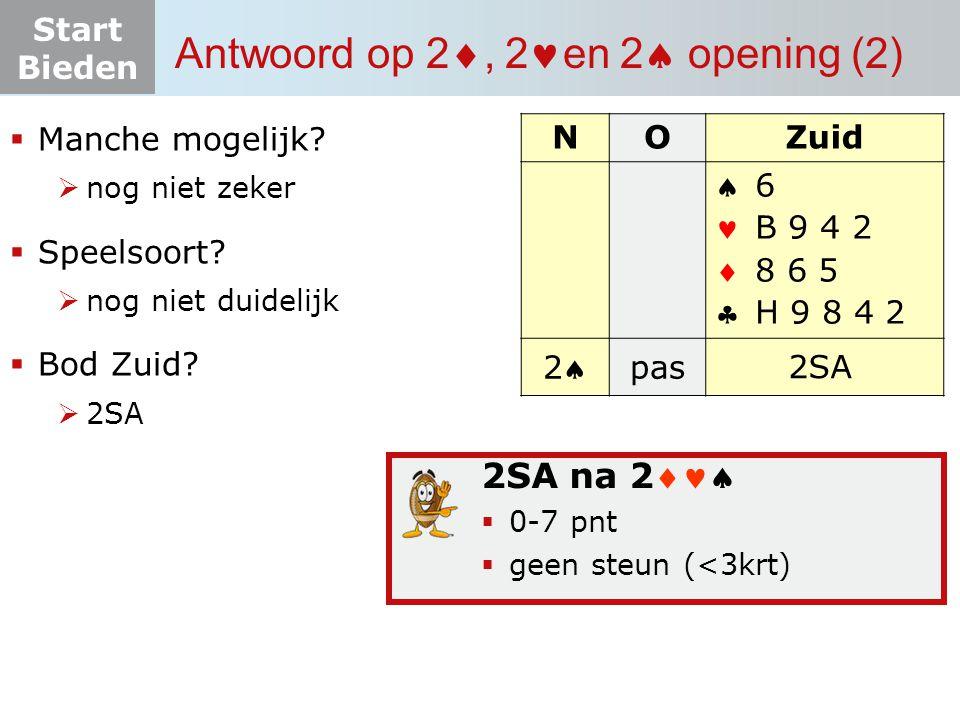 Start Bieden Zelf aan de slag 10.4 (W dealer)  Contract: 4 door West  Uitkomst: H (hoogste serie)  O-W: 4 +1: (+650): -troeftrekken combineren met 2 x snijden op H -3 e keer troef -op 4 e schoppen 9 weg WestNoordOostZuid 2SA       N W O Z       20-22 pnt SA verd.